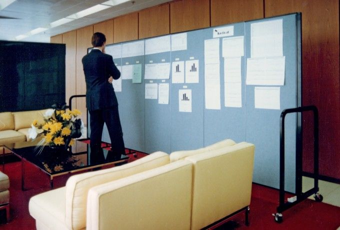 A Screenflex Room Divider used as an information display board