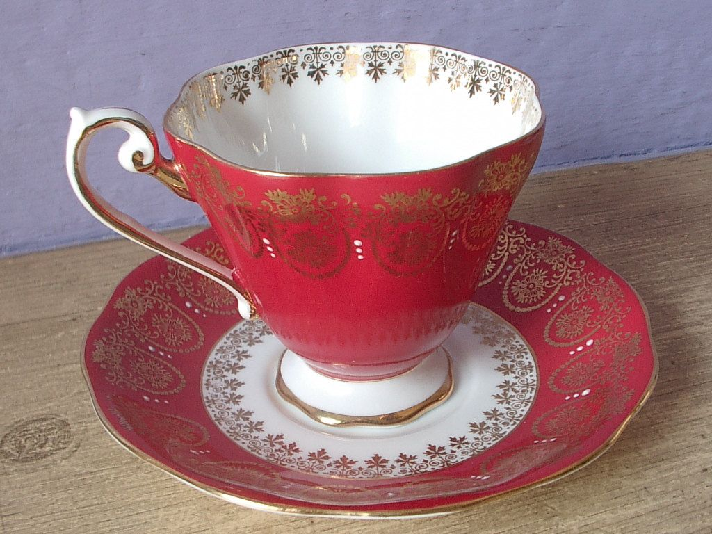 Vintage Red Tea Cup Set Royal Standard Bone China Gold And