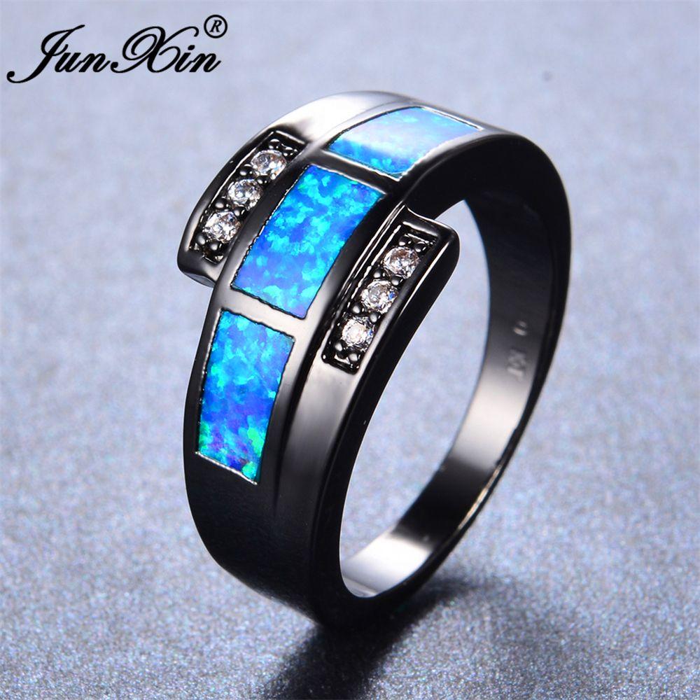 bb77c3b62c JUNXIN Brand Design Ocean Blue Fire Opal Ring With AAA Zircon Vintage Black  Gold Filled Jewelry