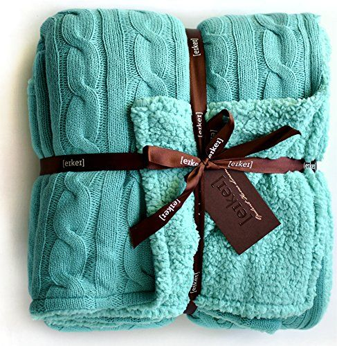 Cable Knit Sherpa Oversized Throw Reversible Blanket Faux ...