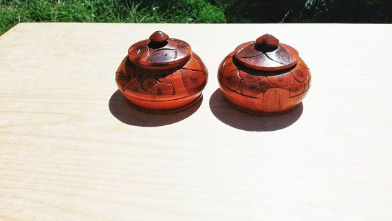 Wooden Trinket Boxes / Hand Carved Wood Jars by TimelessNewEngland, $24.00