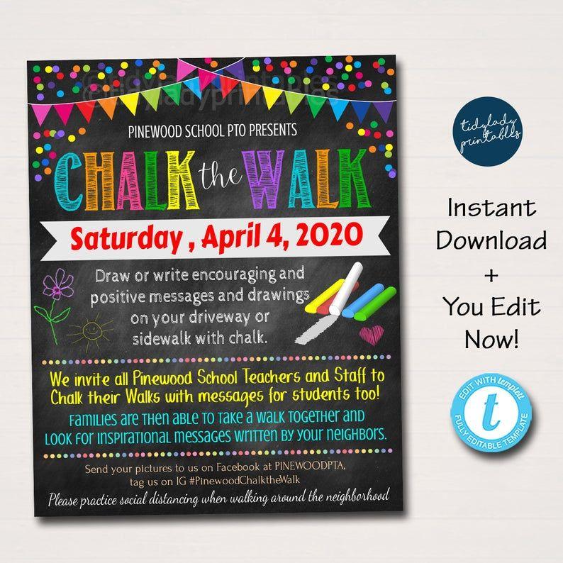 Chalk The Walk Flyer Homeschool Social Connection Event Idea Etsy School Pto Kindness Activities School Spirit Week