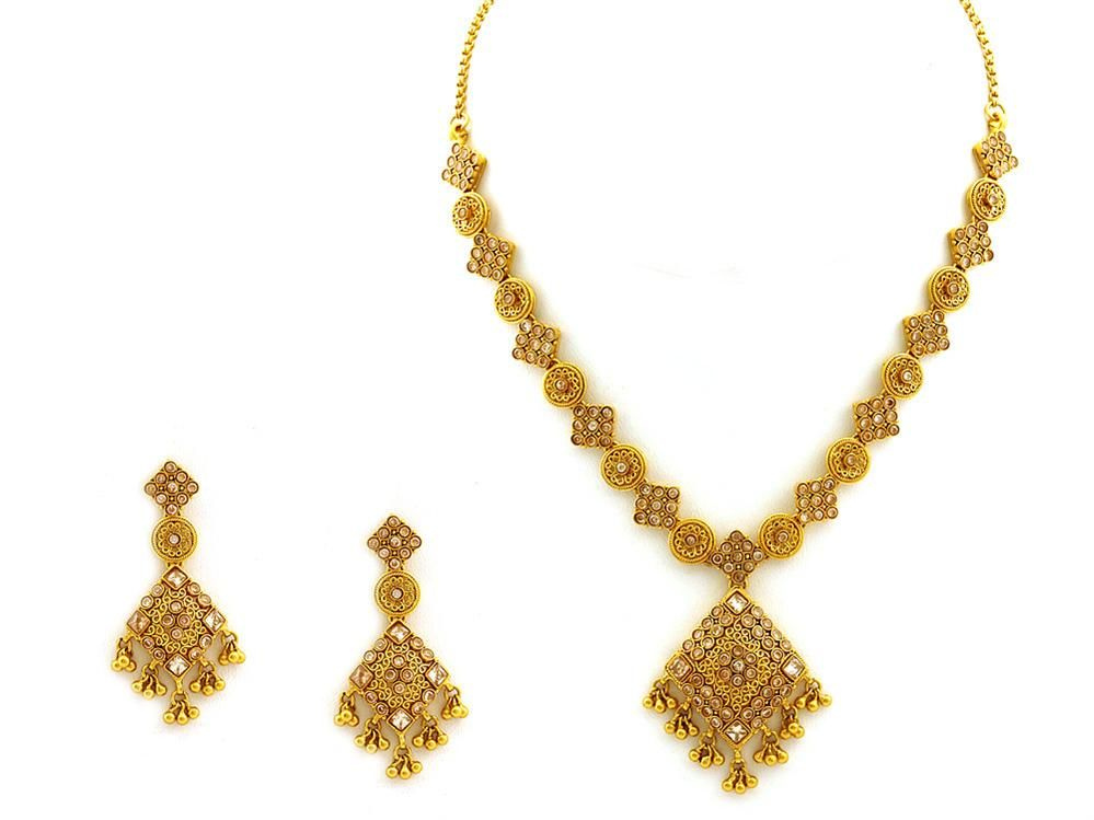 and earrings indian for necklace women set gold