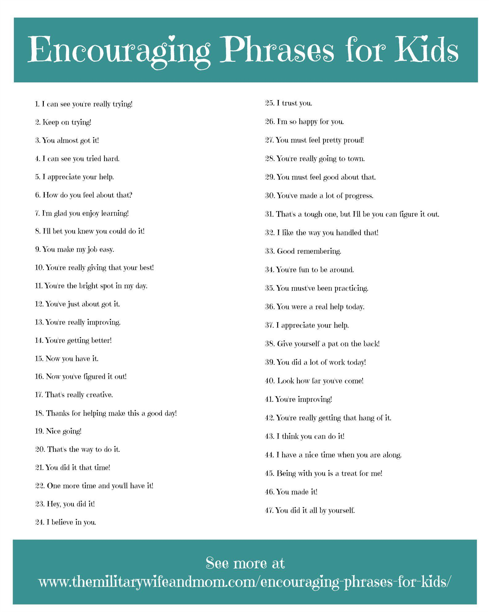 47 Encouraging Phrases For Kids That