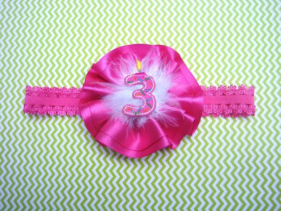 Baby Girl Headband Happy Birthday Age 3 Year Old Pink Party