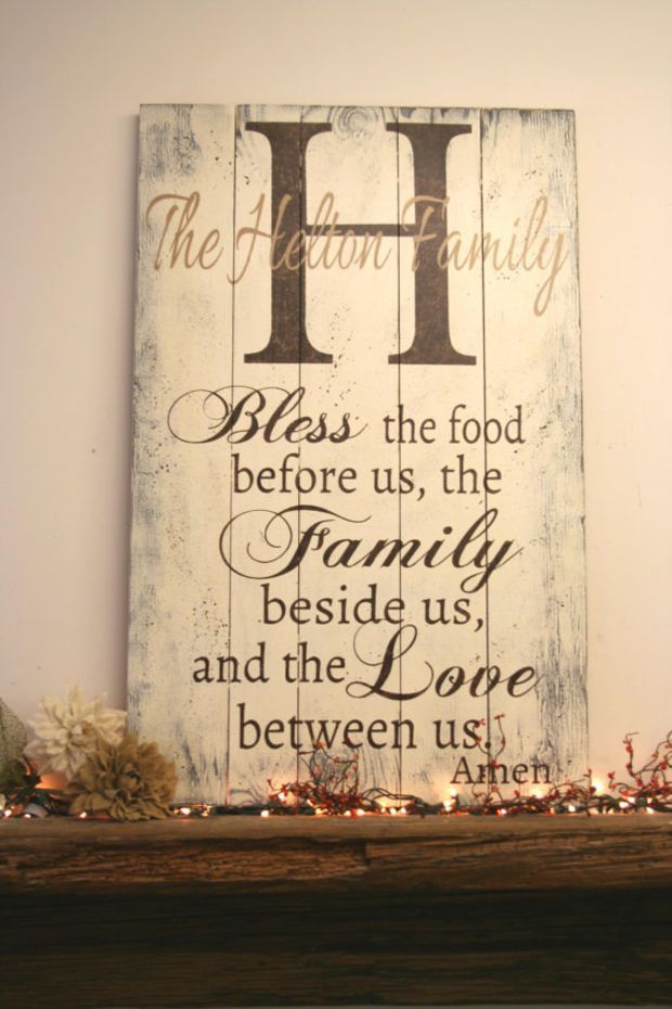 Bless The Food Before Us Pallet Sign Name Personalized Dining Room Rustic