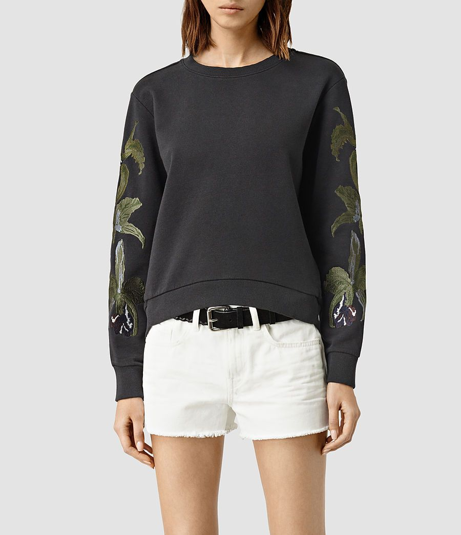 Women's Anya Embroidered Sweatshirt (Washed Black) -  product_image_alt_text_2