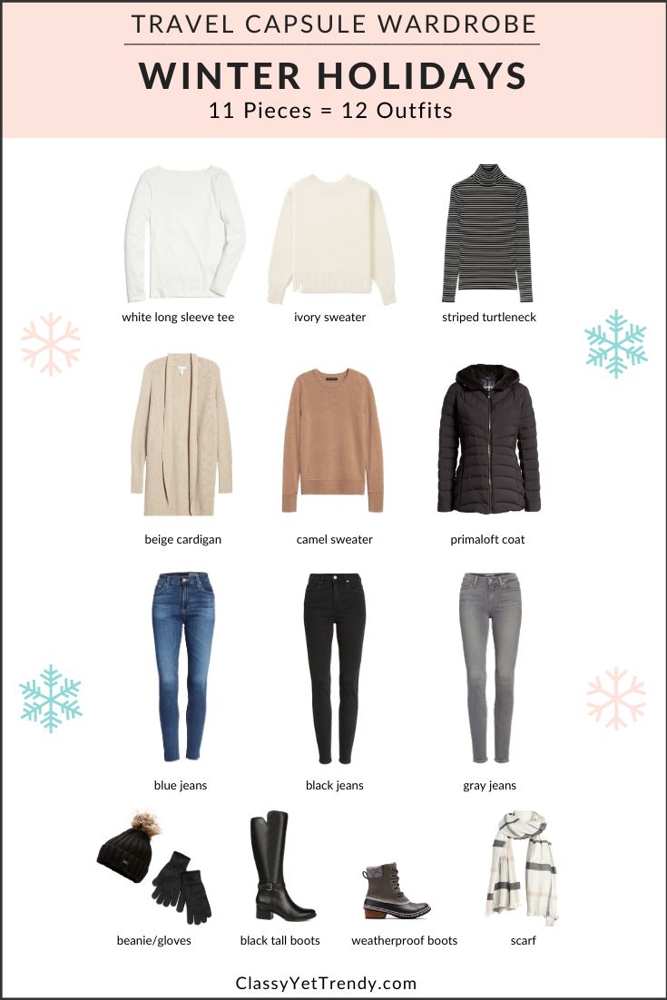 Winter Holidays Travel Capsule Wardrobe: 11 Pieces = 12 Outfits - Classy Yet Trendy