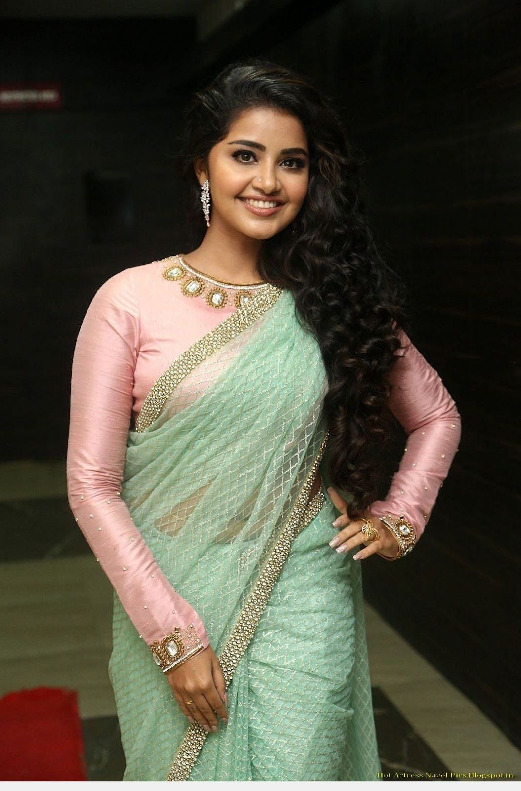 Latest Pictures Anupama Parameswaran Latest Hot Navel Visible In Green Transparent