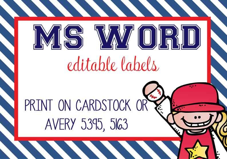 BASEBALL - Labels, MS Word, EDITABLE | Clipart: Sports