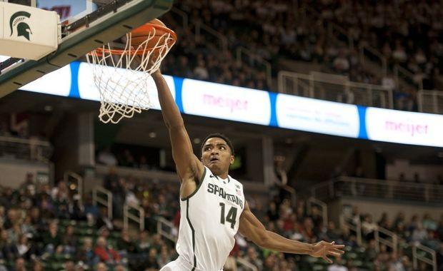 Gary Harris lays in a basket against Grand Valley State at the Breslin Center in East Lansing on Tuesday, Oct. 29, 2013. (J. Scott Park | MLIve.com)