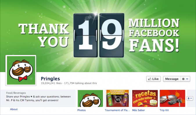 Bonus: Pringles cover photo once they reached 19M fans.