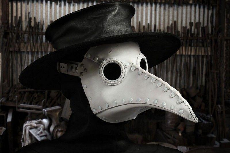 TM3023 レザー製 ペストマスク ロング ホワイト Plague Doctor mask ...
