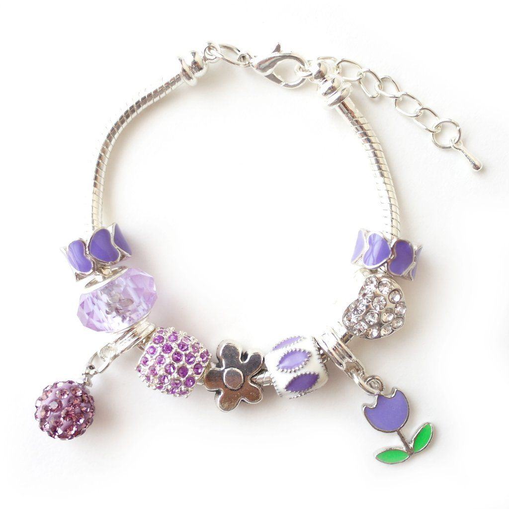 Charm bracelets for little girls purple tulip flower inspired charm