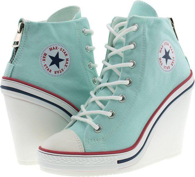 f2da25132c58 Maxstar Women s 777 Back Zipper Canvas High Wedge Heel Sneakers Red 8 B(M)  US