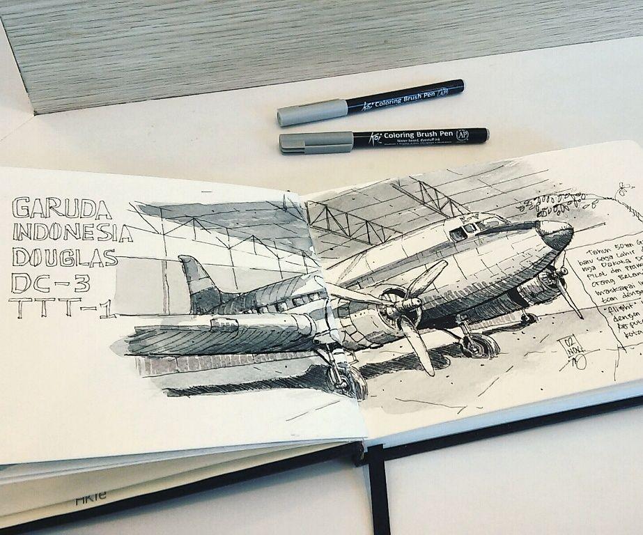 Dakota STM Penerbangan Jakarta Ink Koi Coloring Brush Pen On