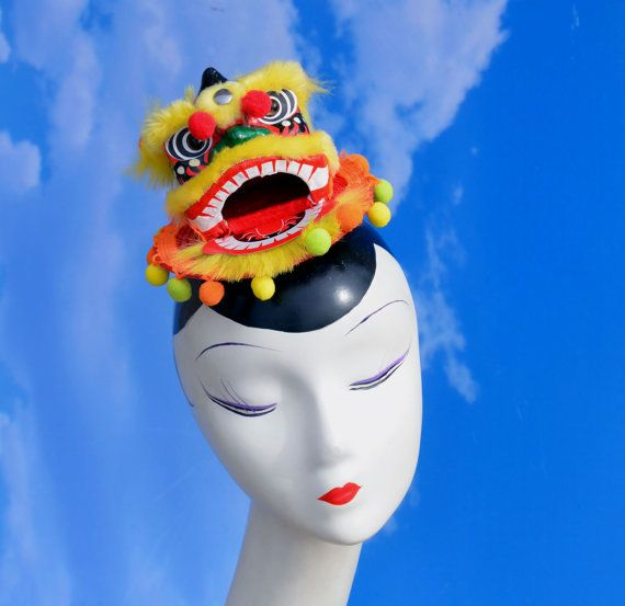 Chinese Dragon Head Red & Yellow Fascinator Hat By
