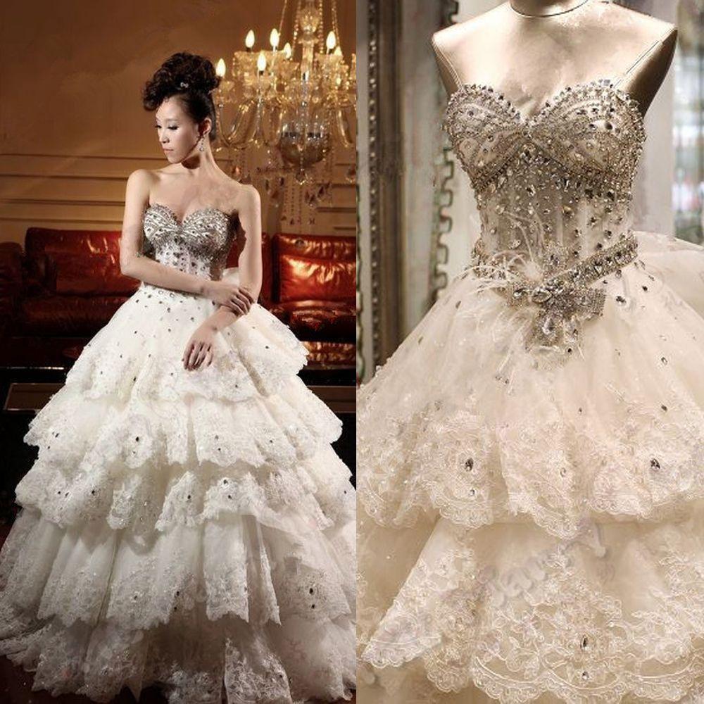 Aliexpress Buy Bling Crystal Rhinestone Wedding Dress Tiered Lace Bridal Ball Gowns Applique Beads Vestidos De Boda Corset Back 2015 W1427 Fr