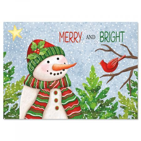 snowman with cardinals christmas cards current catalog - Current Christmas Cards