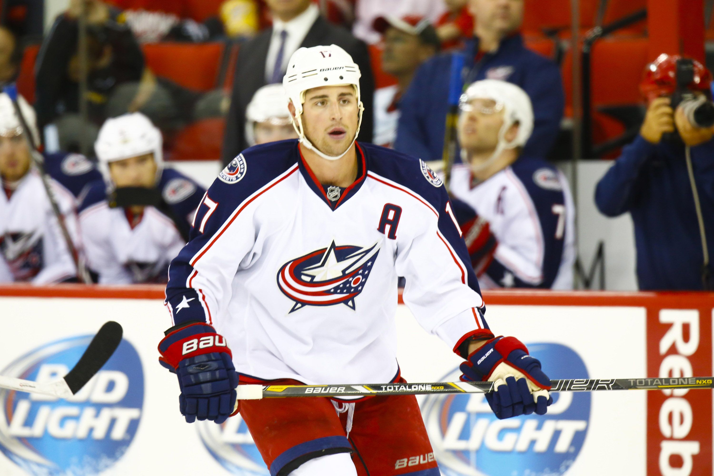 CrowdCam Hot Shot: Columbus Blue Jackets center Brandon Dubinsky looks on during the game against the Carolina Hurricanes at PNC Center. The Blue Jackets defeated the Hurricanes 5-4. Photo by James Guillory