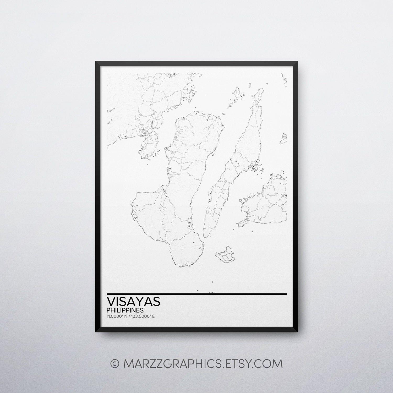 Visayas map poster print wall art, Philippines gift