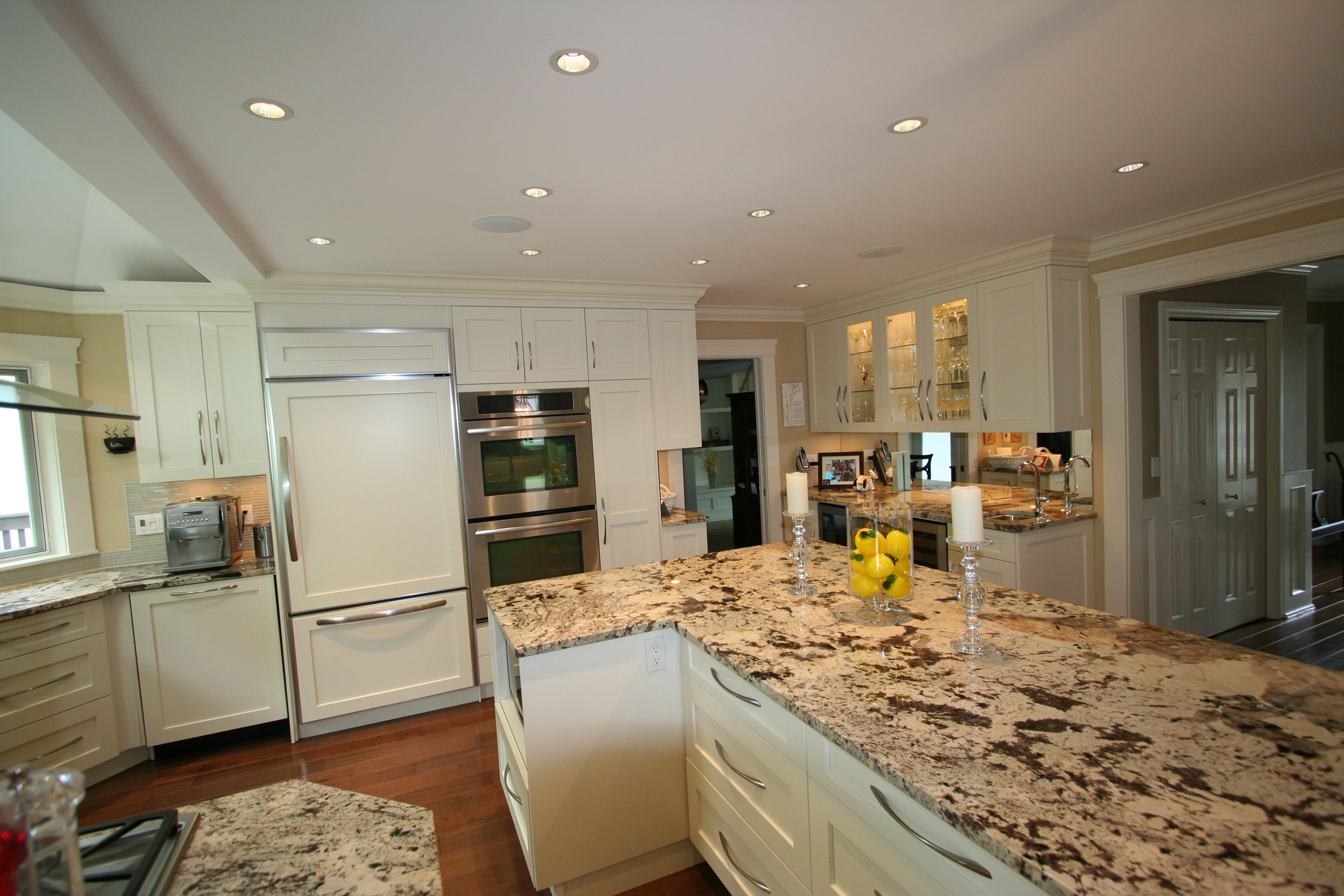 White Kitchen - Wide Rail Maple Shaker Cabinets with ... on Maple Cabinets With White Granite Countertops  id=53123