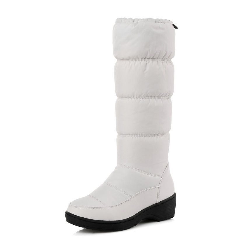 QUTTA Fashion White Elegant 2016 PU+Down Women Shoes Wedge Low Heel Mid Calf Snow Boots Women Motorcycle Boots Size 34-43