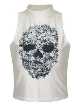 7afffef9be White High Neck Floral Skull Pattern Sleeveless Crop Top | Sheeiz I ...