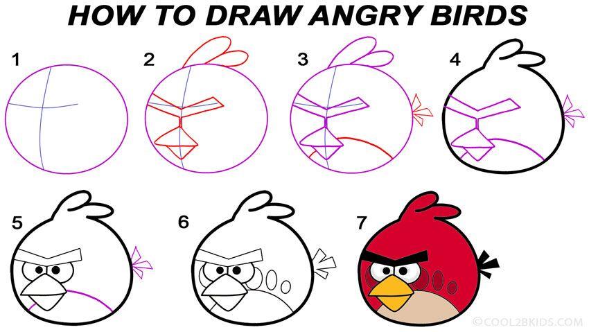 Como Desenhar O Pássaro Vermelho De Angry Birds: How To Draw Angry Birds Step By Step Drawing Tutorial With
