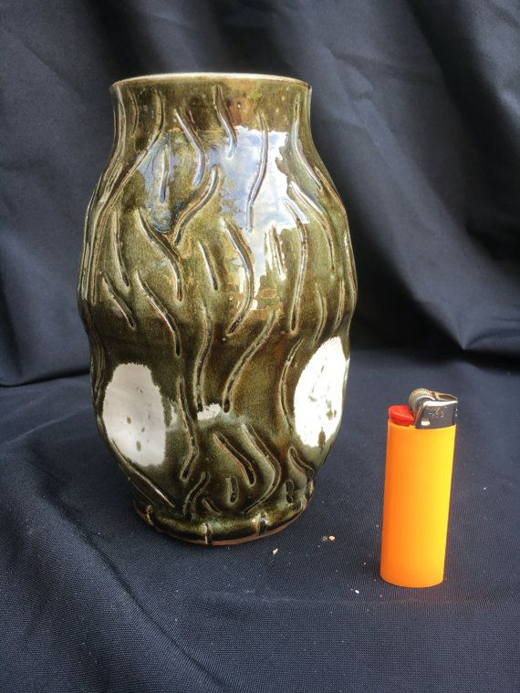Black and White Green and White Small Vase Hand Carved Manipulated Form
