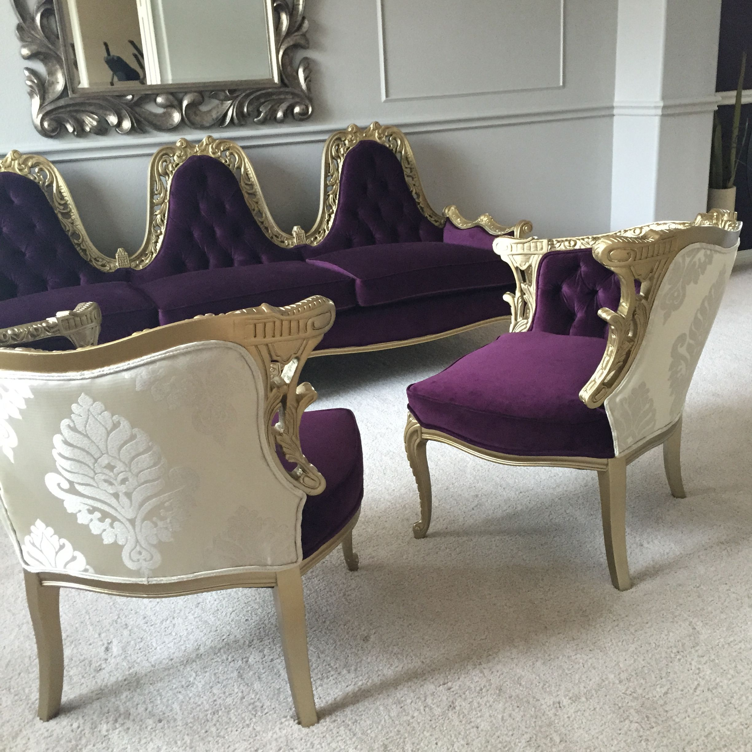 French Baroque Purple Gold Sofa Chairs | baroque et rococo ...