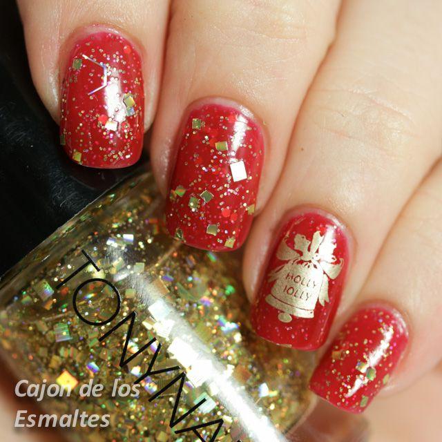 Uñas para Navidad: decoración en rojo y oro, ¡una idea genial ...