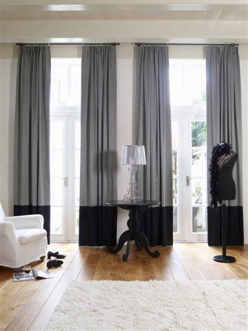 Gordijnen met een andere kleur onderkant | Raamdecoratie | Pinterest ...