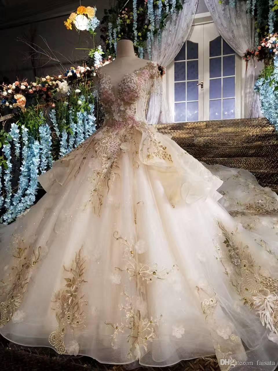 Colors Wedding Dresses 2017 Ball Gown Arabic Wedding Dress Vintage ...