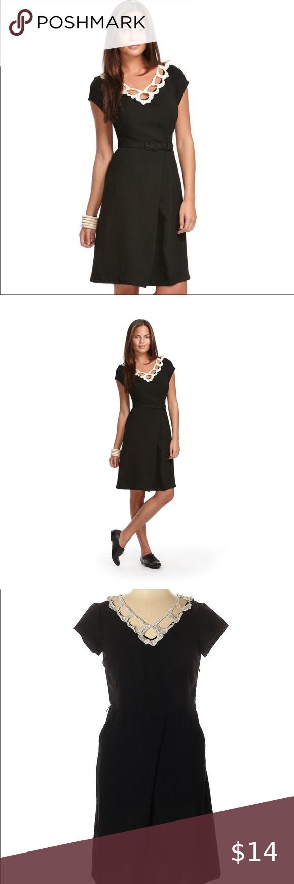 Libertine For Target Black Dress W White Lace Trim Black Dress Dresses Clothes Design [ 1740 x 580 Pixel ]