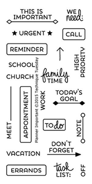 """TECHNIQUE TUESDAY: Planner Important (2"""" x 4"""" Clear Photopolymer Stamp Set) This clear photopolymer stamp set is perfect for planners, calendars, reminders, poc"""