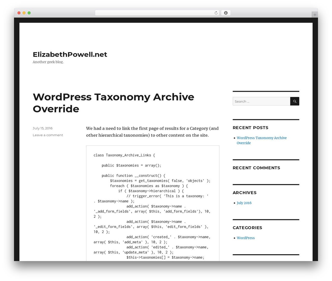 Twenty Sixteen Template Wordpress Free Elizabethpowell Blog