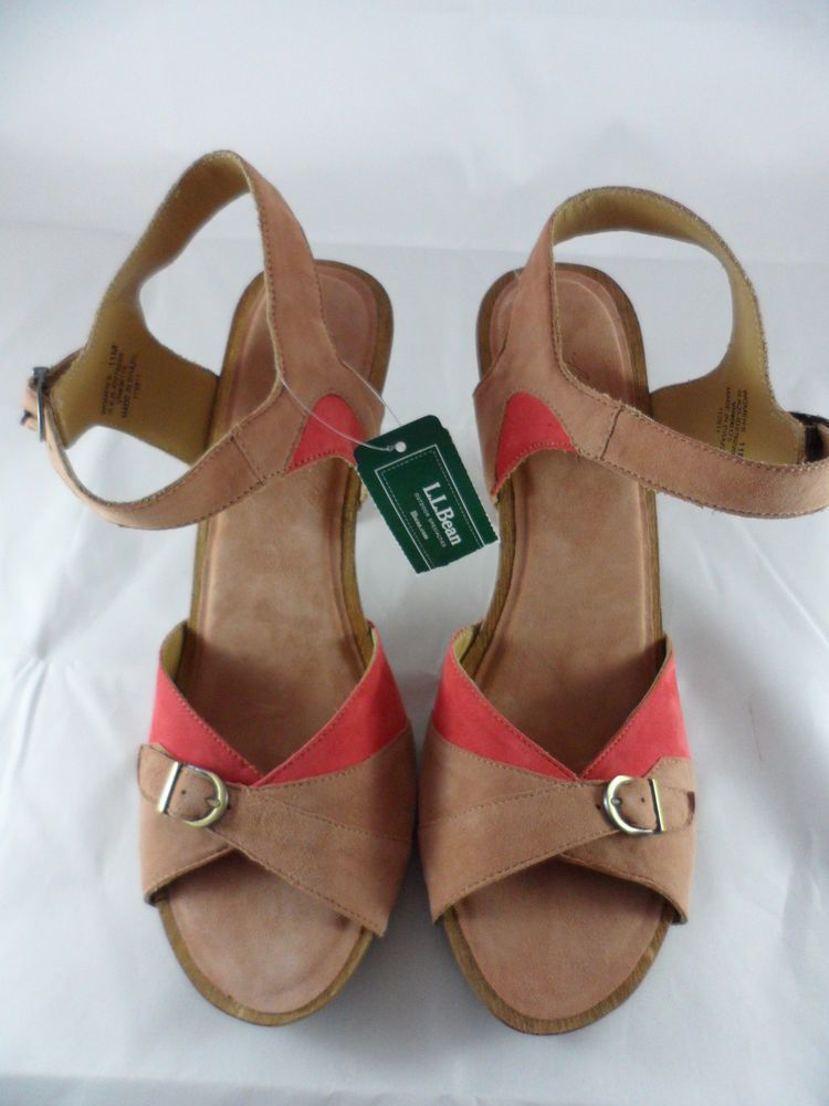 c23e141ffe59 LL Bean Bryant Colorblock Sandals Suede Coral Reef 3.5 Inch Heel Size 11  NWT  LLBean  AnkleStrap