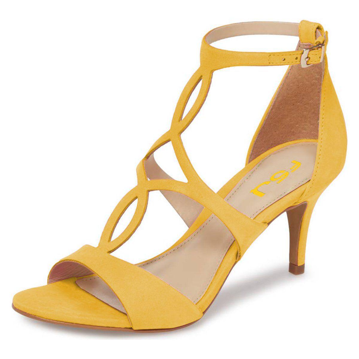 FSJ Women Fashion Ankle Strap Sandals Peep Toe Wedge High Heels Cutout Dress Shoes Size 4-15 US