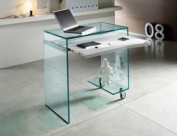 Nella Vetrina Tonelli Work Box Modern Italian Glass Desk In Glass Glass Desk Desk Design Glass Computer Desks