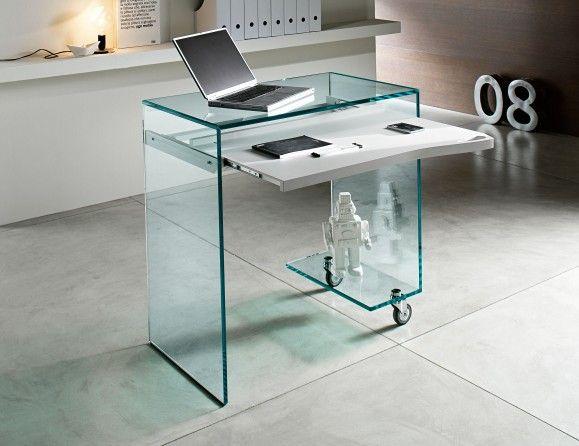 Nella Vetrina Tonelli Work Box Modern Italian Glass Desk In Glass
