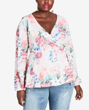 effe8bc6044520 City Chic Trendy Plus Size Floral-Print Faux-Wrap Top - Pretty Pose 22W