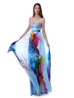 Prom-Kleid aus Chiffon mit Printmuster Milanoo | Lange ...