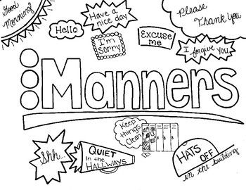Character Ed Manners At School Coloring Page School Coloring