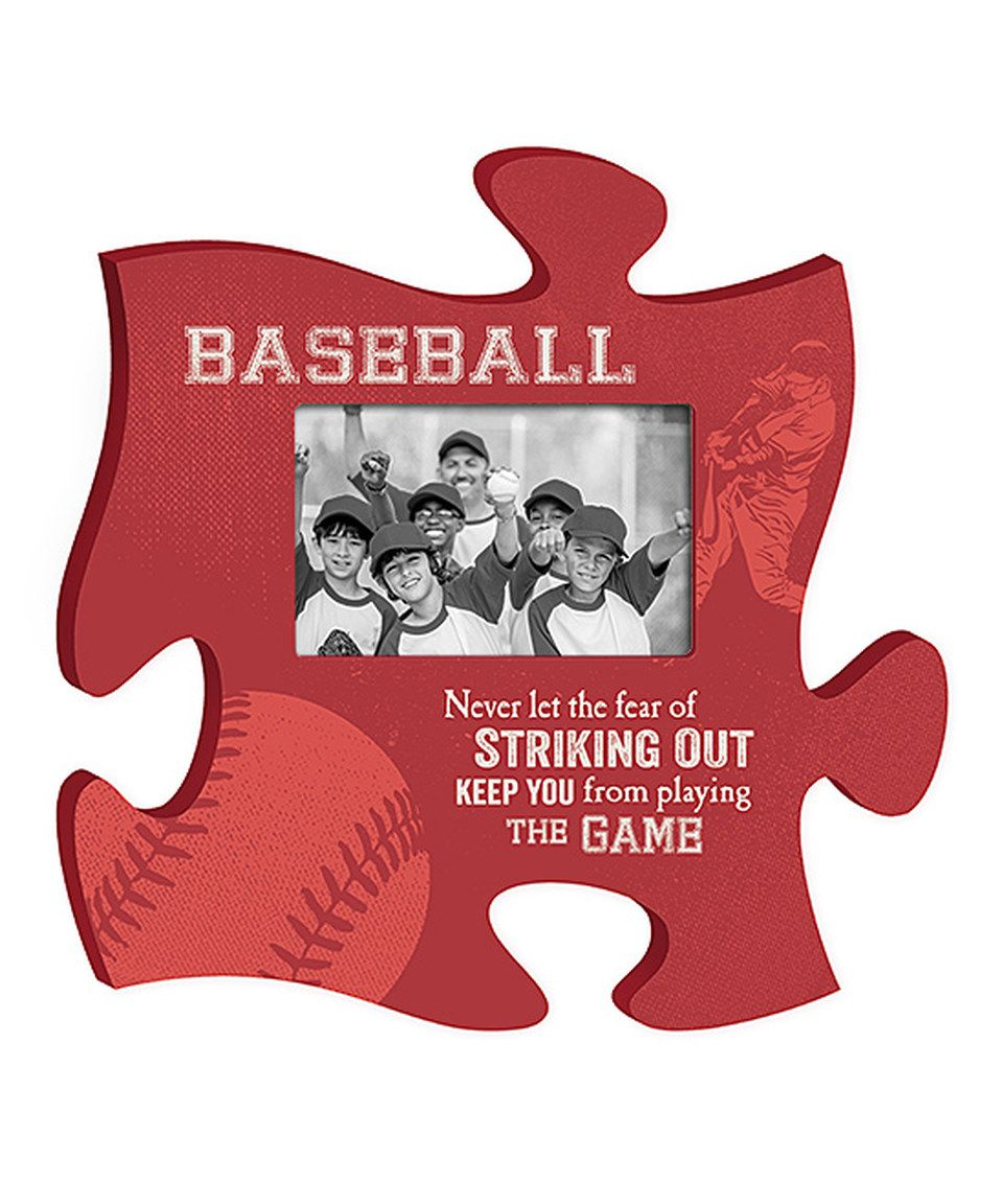 This 'Baseball' Puzzle Piece Photo Frame by P. Graham Dunn