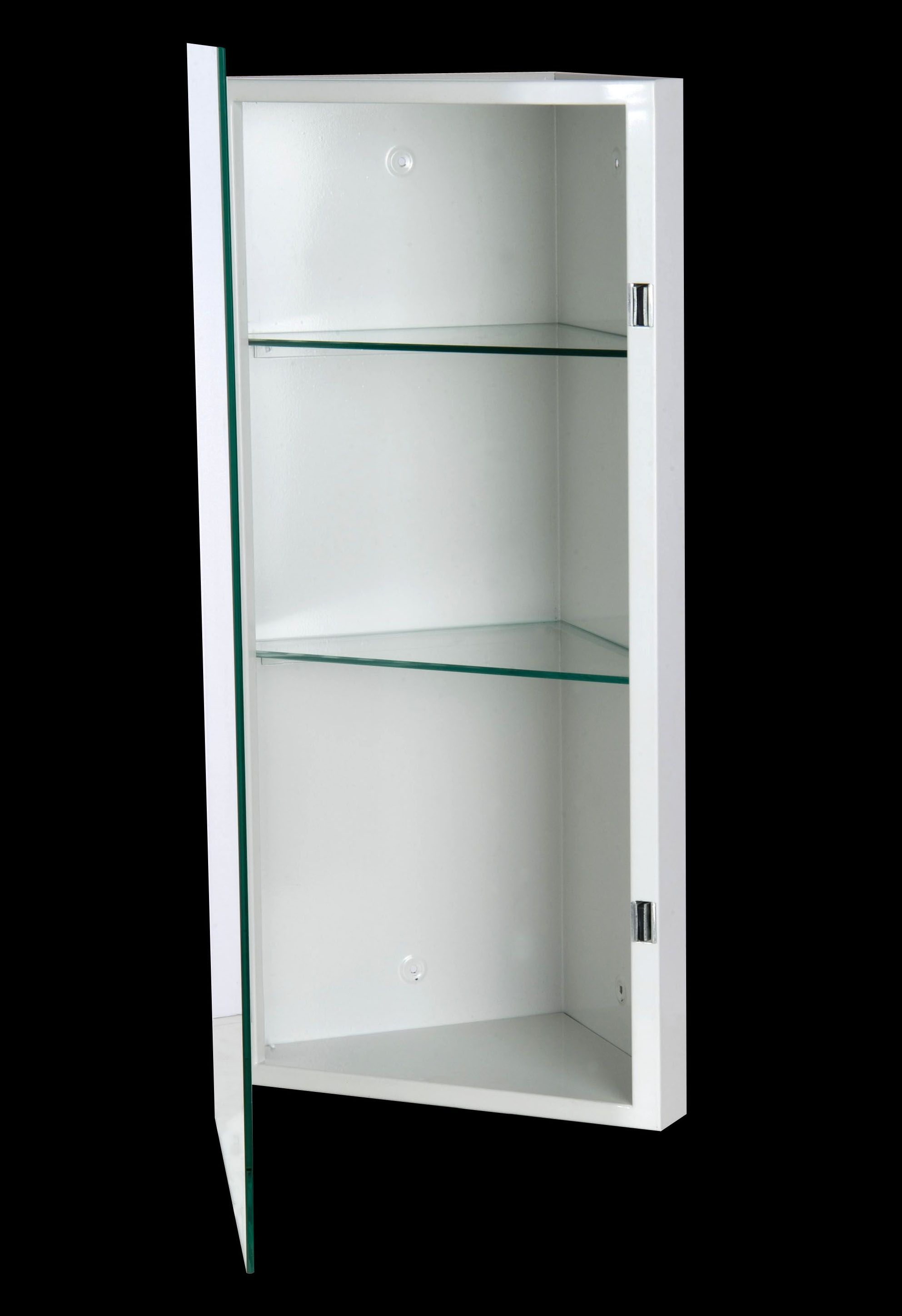 White Wooden Medicine Cabinet With Triangle Shape Having Shelves F Inside  Also Mirror On The Door