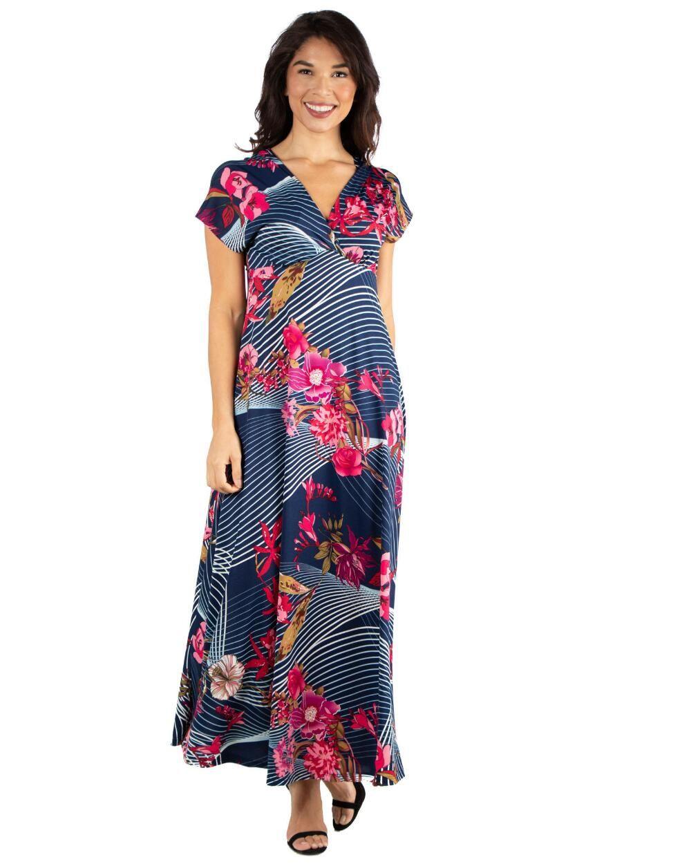 24seven Comfort Apparel Floral Empire Waist V Neck Maxi Dress Xl Maxi Dress Floral Maxi Dress Occasion Maxi Dresses [ 1250 x 1000 Pixel ]