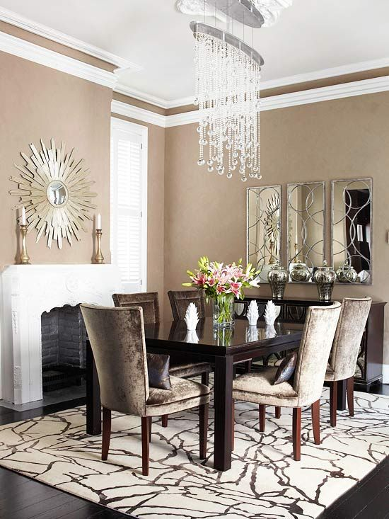 beautiful dining space loving the chandelier mirror and the chairs