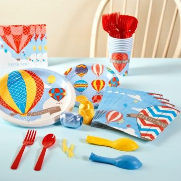 Up Up And Away 1st Birthday Basic Party Pack For 8 Birthday Party Packs Party Balloons 1st Birthday Parties