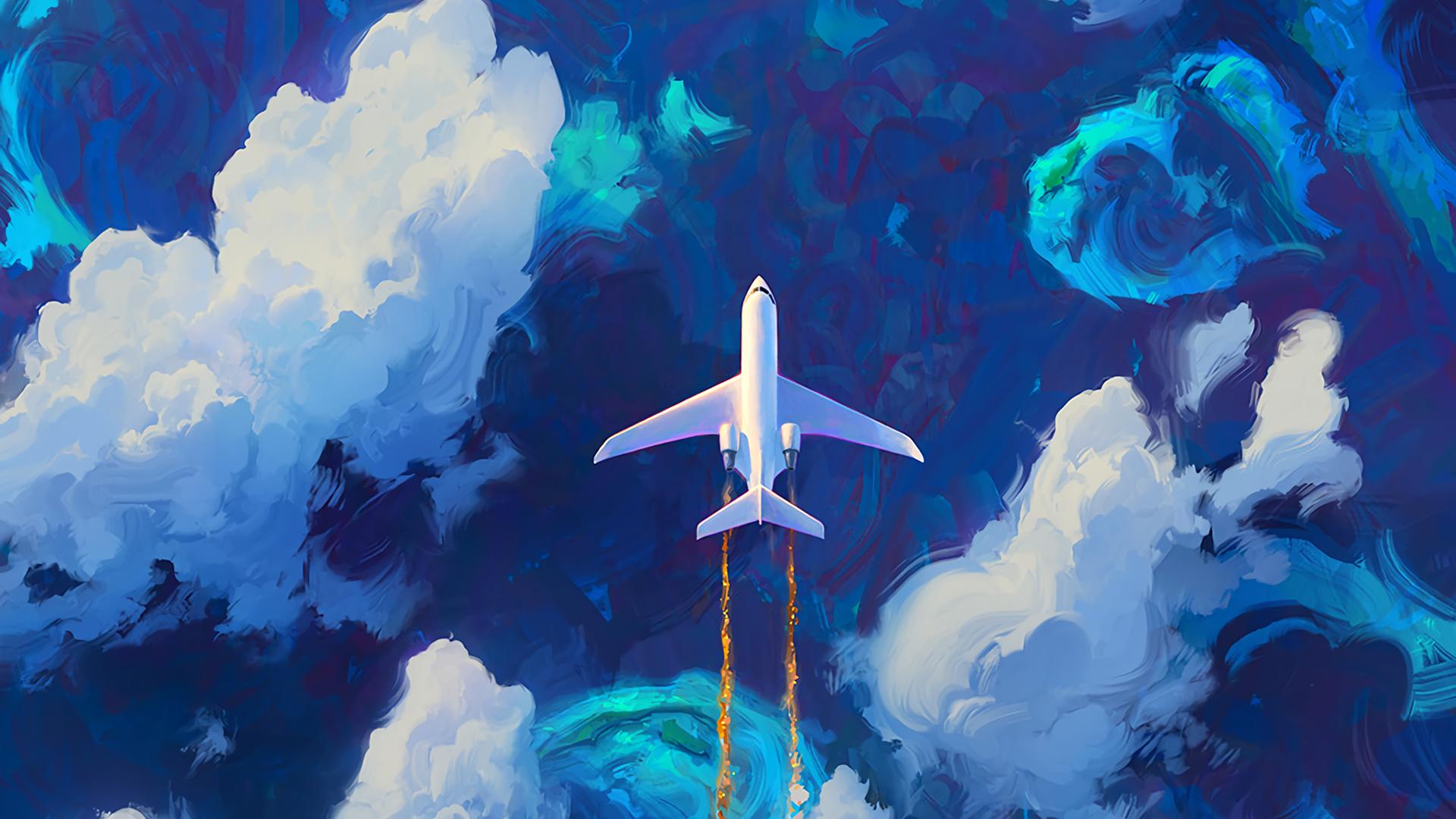 General 1920x1080 Digital Art Planes Clouds Rhads Blue Art Wallpaper Plane Drawing Computer Wallpaper Desktop Wallpapers